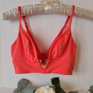 Victoria's Secret Coral  very sexy long line Bralette,medium V gold logo New